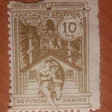 Sellos: MINISTERIO DE GOBERNACIÓN, ASOCIACION BENEFICA DE FUNCIONARIOS. 10 PTS. Lote 116957531
