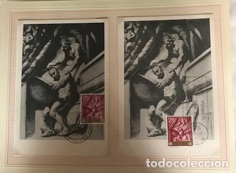 JOSÉ MARIA SERT 1966 SERIE COMPLETA 10 TARJETAS MÁXIMAS CON MATASELLOS PRIMER DÍA MADRID (Sellos - España - Dependencias Postales - Tarjetas Máximas)
