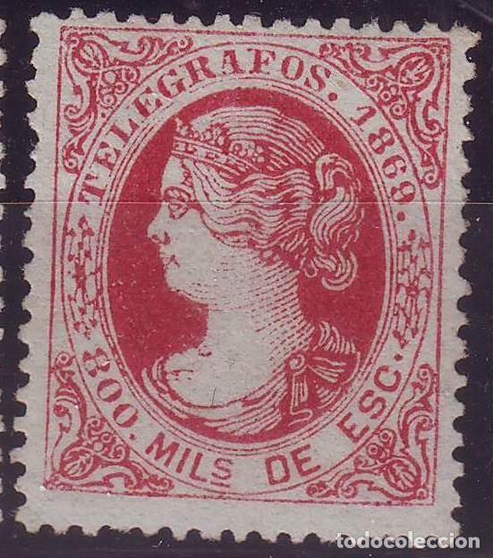 AÑO 1869. TELEGRAFOS 27 *MH. ISABEL II. MARQUILLADO. .VC 100 EUROS (Sellos - España - Dependencias Postales - Telégrafos)