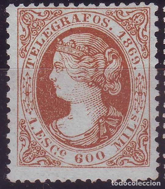 AÑO 1869. TELEGRAFOS 28 *MH. ISABEL II. . .VC 80 EUROS (Sellos - España - Dependencias Postales - Telégrafos)