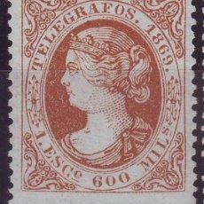 Sellos: AÑO 1869. TELEGRAFOS 28 *MH. ISABEL II. . .VC 80 EUROS . Lote 120463083