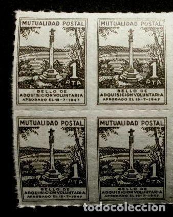 4 SELLOS MUTUALIDAD POSTAL BENEFICA DE CORREOS 1 PTA-ADQUISICION VOLUNTARIA 1947-BENEFICIENCIA (Sellos - España - Dependencias Postales - Beneficencia)