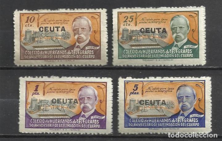 Q712-SERIE COMPLETA 1945 ESPAÑA HABILITADO CEUTA HUÉRFANOS TELÉGRAFOS SOBRECARGA MNH**.VALOR 30,00€ (Sellos - España - Dependencias Postales - Telégrafos)