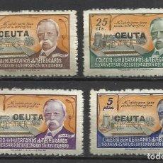 Sellos: Q712-SERIE COMPLETA 1945 ESPAÑA HABILITADO CEUTA HUÉRFANOS TELÉGRAFOS SOBRECARGA MNH**.VALOR 30,00€ . Lote 128408991