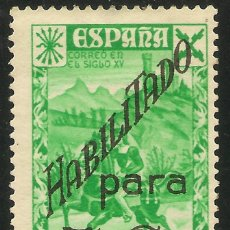 Sellos: ESPAÑA BENEFICENCIA EDIFIL 40 * MH 10 CTOS. VERDE SOBRECARGA 5 CÉNTIMOS NUEVOS VALORES 1940 NL509. Lote 132464610