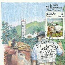 Sellos: TARJETA MÁXIMA REALIZADA CON SELLO PERSONALIZADO DE LA ROMERIA DE SAN MARCOS EN TEGUESTE . Lote 133674714