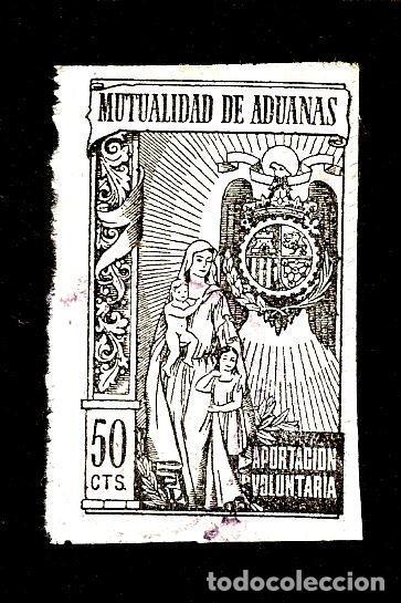 SELLO MUTUALIDAD ADUANAS DE 50 CTS. EPOCA DE FRANCO. (Sellos - España - Dependencias Postales - Beneficencia)