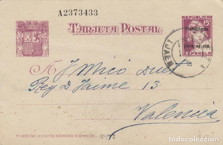 ENTERO POSTAL- MATRONA 1937 Nº 76 -BAEZA(JAÉN) DORSO MARCA COMITÉ DE CONTROL OBRERO U.G.T, A.CRESPO (Sellos - España - Dependencias Postales - Entero Postales)