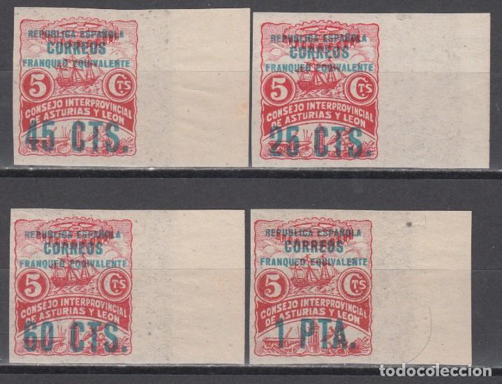 ESPAÑA,ASTURIAS Y LEÓN, 1937 EDIFIL Nº 8 / 11 /**/, SIN DENTAR, BORDE DE HOJA, (Sellos - España - Dependencias Postales - Beneficencia)