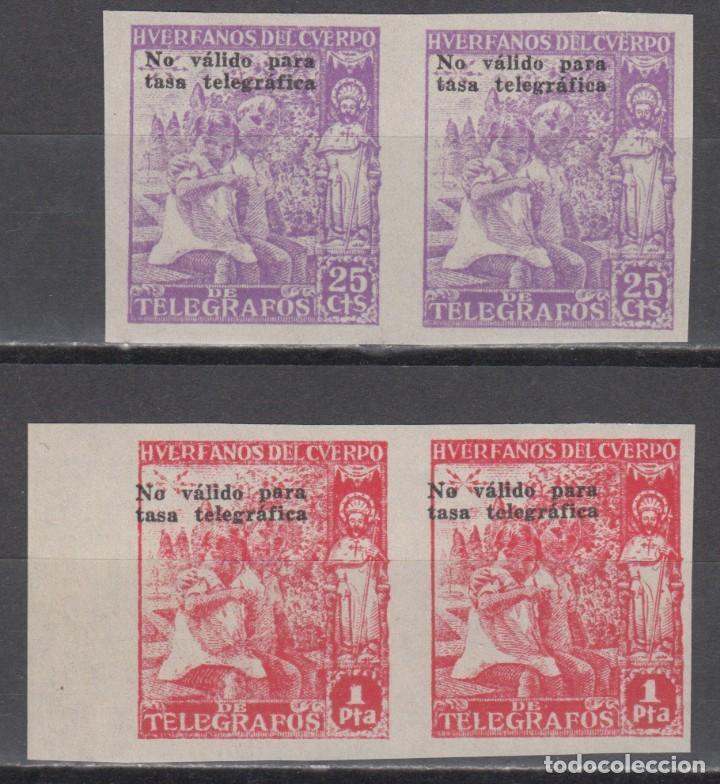 HUERFANOS DE TELEGRAFOS, 1938 GALVEZ Nº 27S, 28S, SOBRECARGA, NO VALIDO PARA TASA TELEGRÁFICA (Sellos - España - Dependencias Postales - Beneficencia)