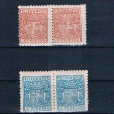 Sellos: ESPAÑA TELEGRAFOS 1932/1933 PAREJAS DE NUEVOS**. Lote 140025814