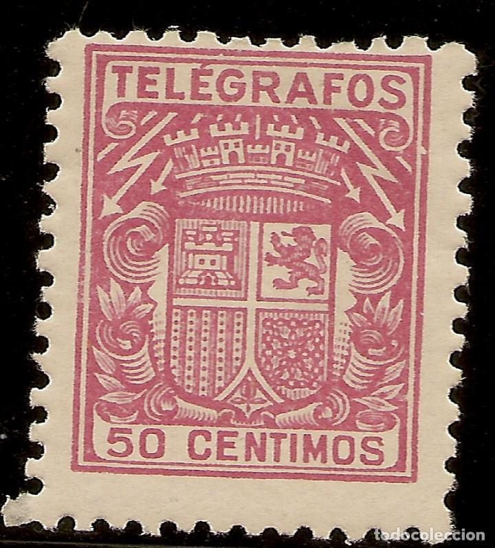 ESPAÑA TELÉGRAFOS EDIFIL 72* MH 50 CÉNTIMOS CARMÍN ESCUDO ESPAÑA 1932/33 NL818 (Sellos - España - Dependencias Postales - Telégrafos)