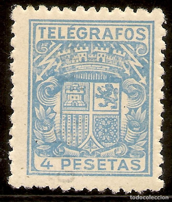 ESPAÑA TELÉGRAFOS EDIFIL 74* MH 50 CTOS. CARMÍN ESCUDO ESPAÑA 1932/33 NL805 (Sellos - España - Dependencias Postales - Telégrafos)