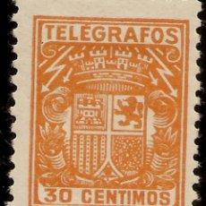 ESPAÑA Telégrafos Edifil 71* Mh 30 Céntimos Naranja Escudo España 1932/33 NL937