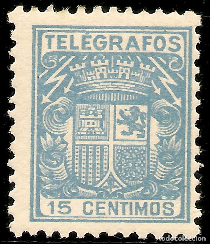 ESPAÑA TELÉGRAFOS EDIFIL 70* MH 15 CÉNTIMOS AZUL ESCUDO DE ESPAÑA 1932/33 NL913 (Sellos - España - Dependencias Postales - Telégrafos)