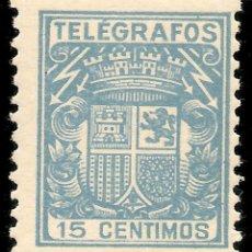 Sellos: ESPAÑA TELÉGRAFOS EDIFIL 70* MH 15 CÉNTIMOS AZUL ESCUDO DE ESPAÑA 1932/33 NL913. Lote 141884654