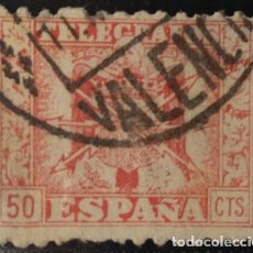 Sellos: TELÉGRAFOS, 1940-42. ESCUDO DE ESPAÑA. 50 CTS, ROJO (Nº 81 EDIFIL).. Lote 142934886