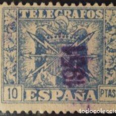 Francobolli: TELÉGRAFOS, 1940-42. ESCUDO DE ESPAÑA. 10 PTS, AZUL (Nº 84 EDIFIL).. Lote 142934918