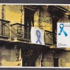 Sellos: ESPAÑA 1997 TARJETA MAXIMA LAZO AZUL - CONTRA LOS SECUESTROS DE ETA. Lote 143373910