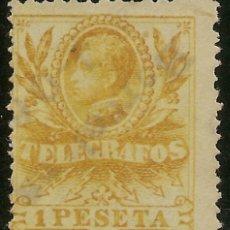 Sellos: ESPAÑA TELÉGRAFOS EDIFIL 44 (º) ALFONSO XIII 1 PESETA AMARILLO 1912 NL285. Lote 143412174
