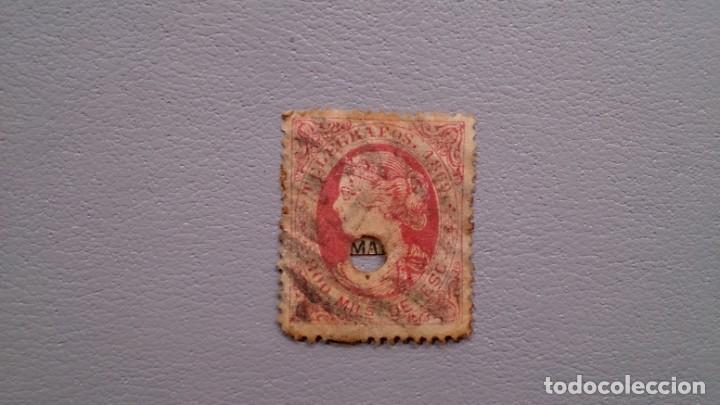 ESPAÑA - 1869 - ISABEL II - TELEGRAFOS - EDIFIL 27 - CENTRADO. (Sellos - España - Dependencias Postales - Telégrafos)