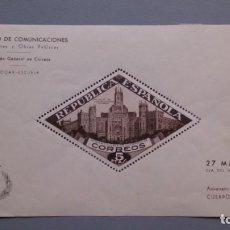 Sellos: ESPAÑA - 1937 - BENEFICENCIA - HOJA EDIFIL 17 - MH* - NUEVA - PALACIO DE COMUNICACIONES DE MADRID.. Lote 145415478