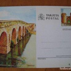 Sellos: TARJETA POSTAL PUENTE ROMANO MERIDA - BADAJOZ 1984. Lote 151014758