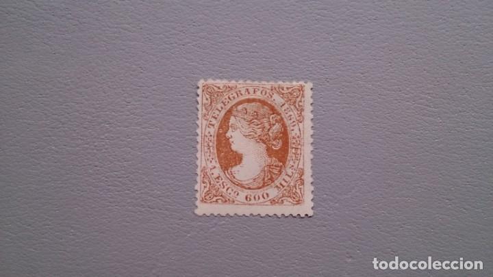 ESPAÑA - 1869 - ISABEL II - TELEGRAFOS - EDIFIL 28 - MH* - NUEVO - MARQUILLADO - VALOR CATALOGO 80€. (Sellos - España - Dependencias Postales - Telégrafos)