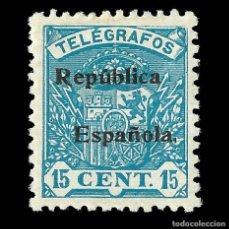 Sellos: SELLOS.ESPAÑA.TELÉGRAFOS.1931-1933.ESCUDO DE ESPAÑA.SOBRECARGA.15C.AZUL VERDE .NUEVO* .EDIFIL.Nº65. Lote 155376414