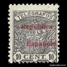 Sellos: SELLOS. ESPAÑA. TELÉGRAFOS. 1931-1933. ESCUDO DE ESPAÑA.SOBRECARGA.10C.NEGRO.NUEVO* .EDIFIL. Nº64. Lote 155376738