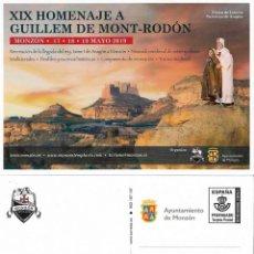 Sellos: ESPAÑA. TARJETA ENTERO POSTAL. GUILLEM DE MONT-RODON. MONZON (HUESCA). 2019. Lote 155437186