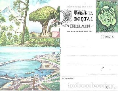 ENTERO POSTAL PUERTO DE STA CRUZ TENERIFE PRIMER DIA DE CIRCULACION 8 JUN 1977 FNMT (Sellos - España - Dependencias Postales - Entero Postales)