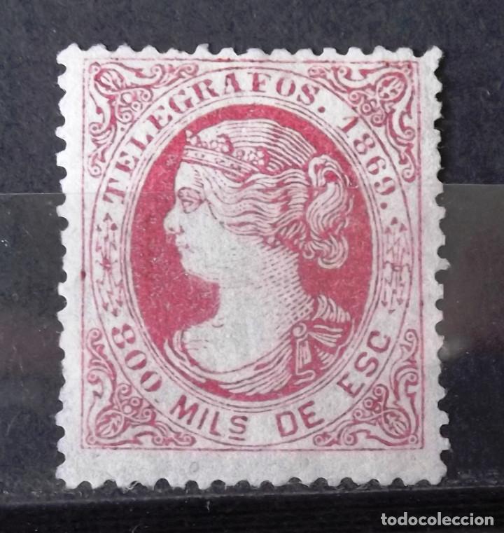 TELÉGRAFOS, 27, NUEVO, CON INSIGNIFICANTE CH. ISABEL II. (Sellos - España - Dependencias Postales - Telégrafos)