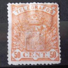 Stamps - Telégrafos, 35, usado, amplia ch. Escudo. - 160102374