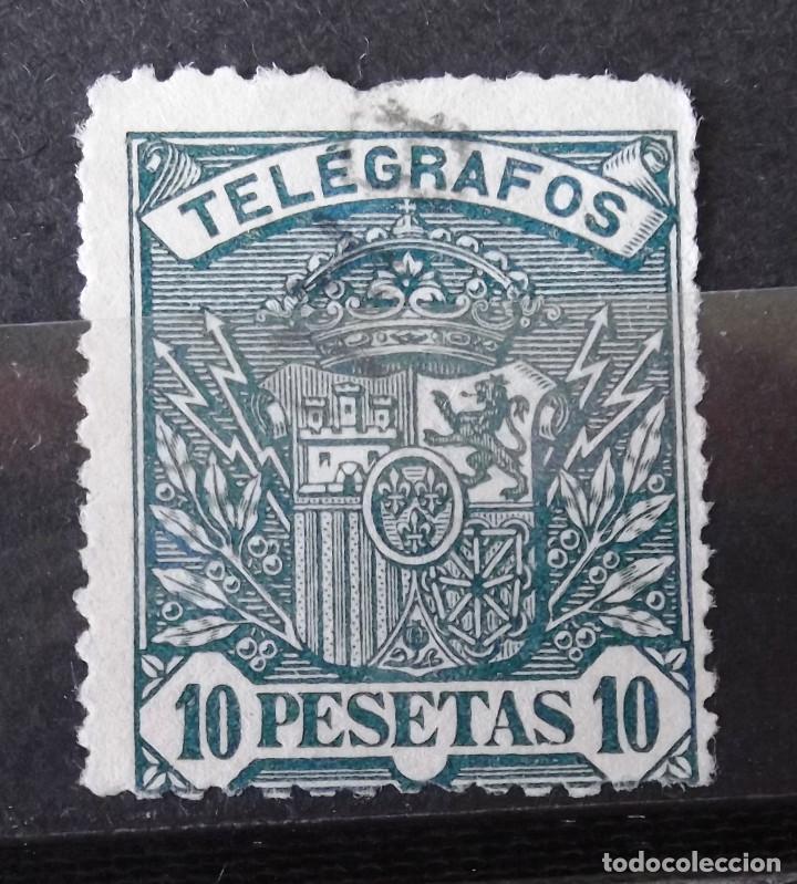 TELÉGRAFOS, 38, USADO. ESCUDO. (Sellos - España - Dependencias Postales - Telégrafos)