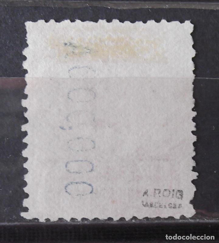 Sellos: Telégrafos, 54N, usado, sin matasellar; muestra; numeración ceros; marquilla Roig. Alfonso XIII. - Foto 2 - 160102606
