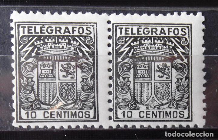 TELÉGRAFOS, 69, DOS SELLOS NUEVOS, SIN CH., EN PAREJA. ESCUDO. (Sellos - España - Dependencias Postales - Telégrafos)