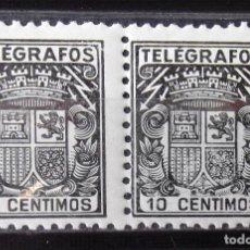 Stamps - Telégrafos, 69, dos sellos nuevos, sin ch., en pareja. Escudo. - 160102830