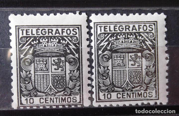 TELÉGRAFOS, 69, DOS SELLOS NUEVOS, SIN CH. ESCUDO. (Sellos - España - Dependencias Postales - Telégrafos)