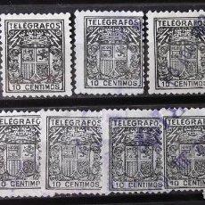 Stamps - Telégrafos, 69, once sellos usados. Escudo. - 160103074