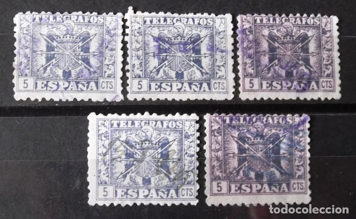 TELÉGRAFOS, 76, CINCO SELLOS USADOS. ESCUDO. (Sellos - España - Dependencias Postales - Telégrafos)