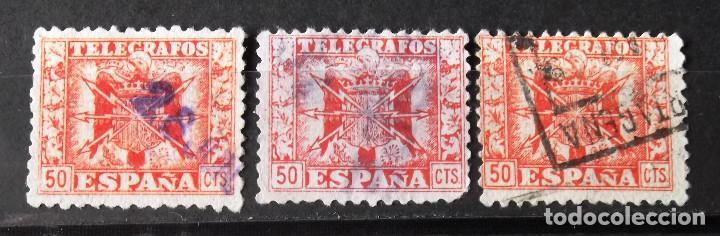 """TELÉGRAFOS, 81, TRES SELLOS USADOS; UNO MATASELLO. """"CARTAGENA"""". ESCUDO. (Sellos - España - Dependencias Postales - Telégrafos)"""