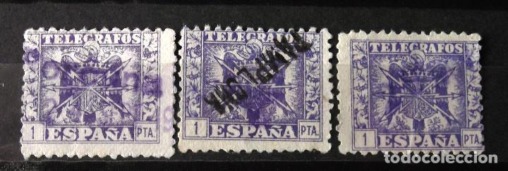 """TELÉGRAFOS, 82, TRES SELLOS USADOS; UNO MATASELLO: """"PAMPLONA"""". ESCUDO. (Sellos - España - Dependencias Postales - Telégrafos)"""