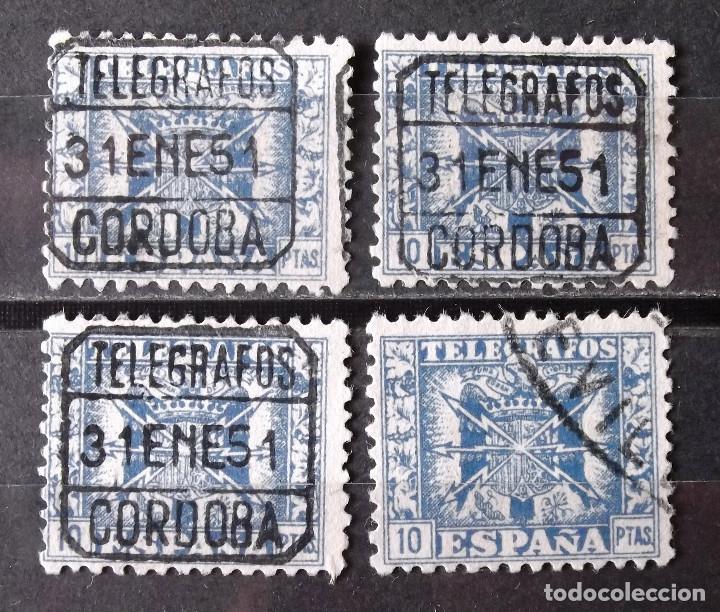 """TELÉGRAFOS, 84, CUATRO SELLOS USADOS; TRES DE ESTOS CON MATASELLO: """"CÓRDOBA, 31ENE51"""". ESCUDO. (Sellos - España - Dependencias Postales - Telégrafos)"""