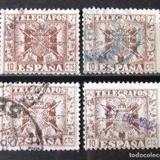 Stamps - Telégrafos, 86, cuatro sellos usados. Escudo. - 161234522
