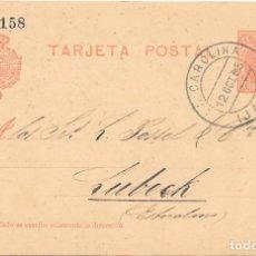 Sellos: CADETE. ENTERO POSTAL Nº 45. CIRCULADO DE LA CAROLINA - JAEN A LUBECH - SUECIA. 1905. Lote 161705454