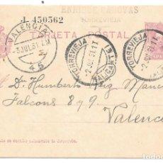 Sellos: VAQUER. ENTERO POSTAL Nº 57. CIRCULADO DE TORREVIEJA - ALICANTE A VALENCIA. 1931. Lote 161706434