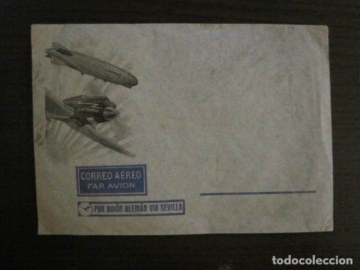 CORREO AEREO POR AVION ALEMAN VIA SEVILLA-LUFTHANSA-ZEPPELIN DIRIGIBLE-SOBRE-VER FOTOS-(V-16.991) (Sellos - España - Dependencias Postales - Entero Postales)