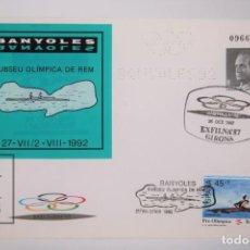 Sellos: SOBRE ENTERO POSTAL - BARCELONA 1992 BANYOLES SEDE OLÍMPICA DE REMO - DOBLE MATASELLOS. Lote 167830300
