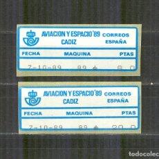 Sellos: ETIQUETA EPELSA ATM 22A/B AVIACION Y ESPACIO 1989 CADIZ NUEVO. Lote 172073899